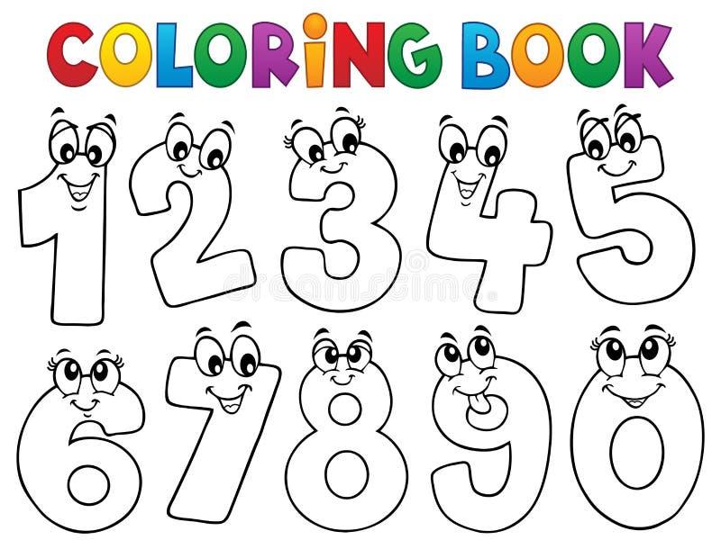 Οι αριθμοί κινούμενων σχεδίων βιβλίων χρωματισμού θέτουν 1 απεικόνιση αποθεμάτων