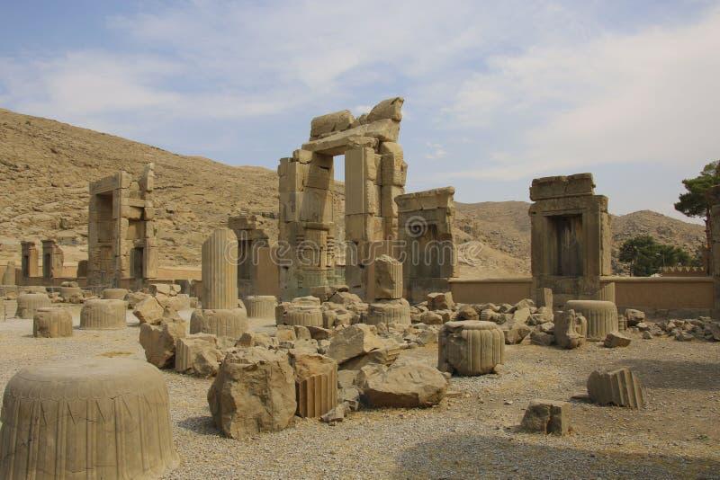 Οι αρχαίες καταστροφές του Persepolis σύνθετο, διάσημο εθιμοτυπικό γ στοκ φωτογραφία