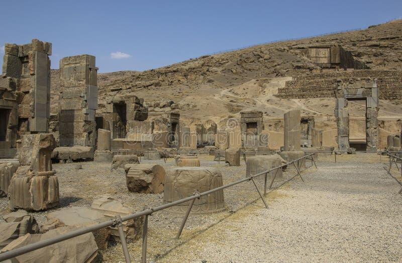 Οι αρχαίες καταστροφές του Persepolis σύνθετο, διάσημο εθιμοτυπικό γ στοκ φωτογραφία με δικαίωμα ελεύθερης χρήσης
