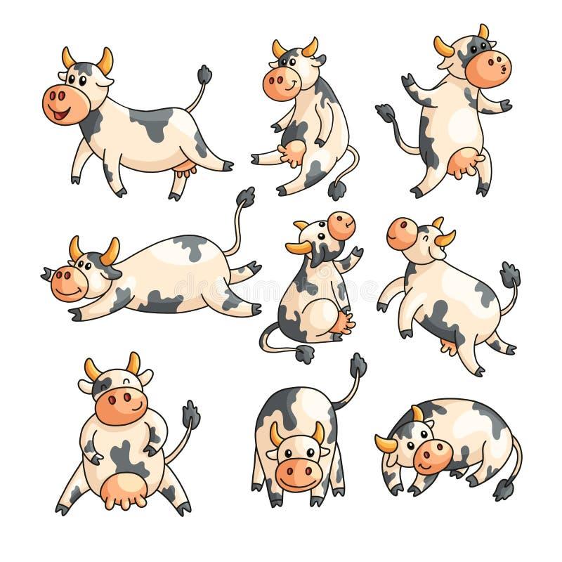 Οι αστείες επισημασμένες αγελάδες με τις διαφορετικές συγκινήσεις σε διάφορο θέτουν απομονωμένος στο λευκό ελεύθερη απεικόνιση δικαιώματος