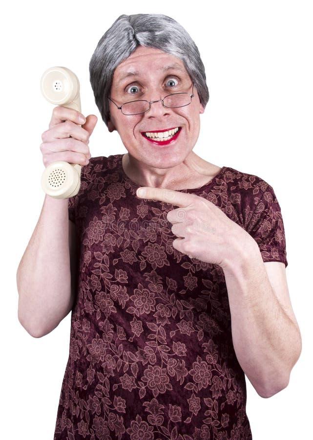 οι αστείες πωλήσεις τηλεφωνικών κέντρων υποστηρίζουν την άσχημη γυναίκα τεχνολογίας στοκ εικόνα
