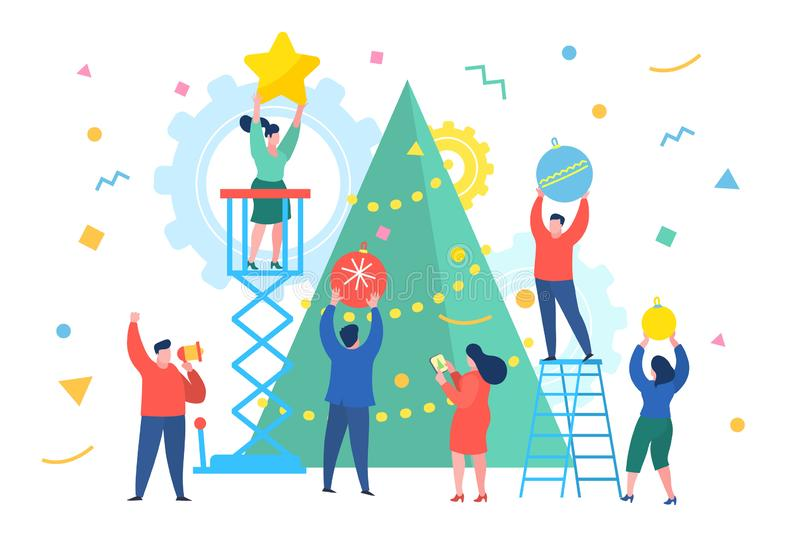 Οι αστείοι μίνι άνθρωποι επιχειρηματιών διακοσμούν το χριστουγεννιάτικο δέντρο Νέα επιχειρησιακή έννοια έτους ελεύθερη απεικόνιση δικαιώματος