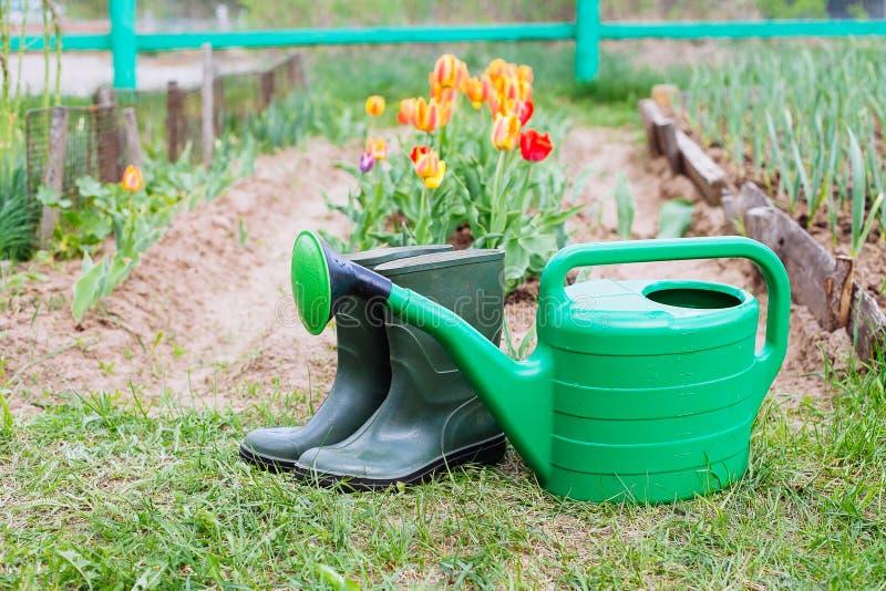 Οι λαστιχένιες μπότες με το πότισμα μπορούν στη χλόη στοκ φωτογραφία με δικαίωμα ελεύθερης χρήσης