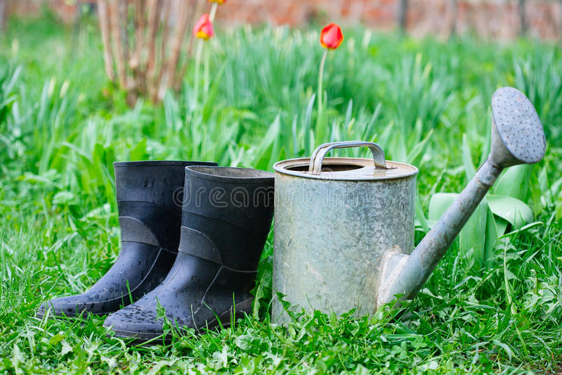 Οι λαστιχένιες μπότες με το πότισμα μπορούν στη χλόη στοκ εικόνα με δικαίωμα ελεύθερης χρήσης