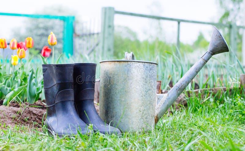 Οι λαστιχένιες μπότες με το πότισμα μπορούν στη χλόη στοκ φωτογραφίες