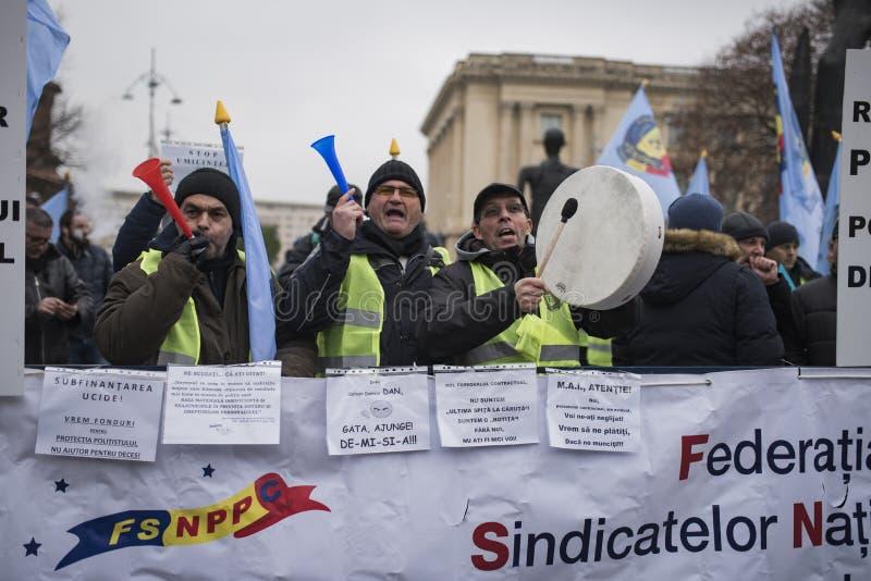 Οι αστυνομικοί διαμαρτύρονται στοκ εικόνες
