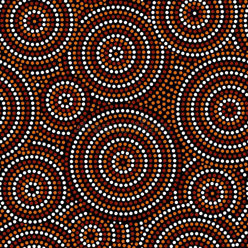 Οι αυστραλιανοί αυτόχθονες κύκλοι τέχνης σημείων αφαιρούν το γεωμετρικό άνευ ραφής σχέδιο καφετή σε γραπτό, διάνυσμα απεικόνιση αποθεμάτων