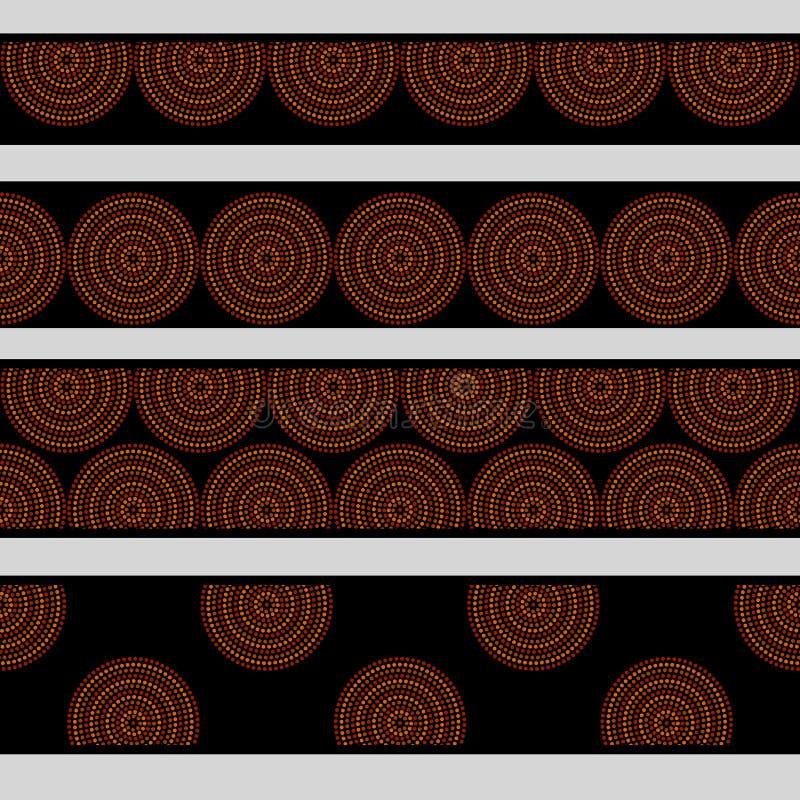 Οι αυστραλιανοί αυτόχθονες γεωμετρικοί ομόκεντροι κύκλοι τέχνης στα πορτοκαλιά καφετιά και μαύρα άνευ ραφής σύνορα θέτουν, διάνυσ διανυσματική απεικόνιση