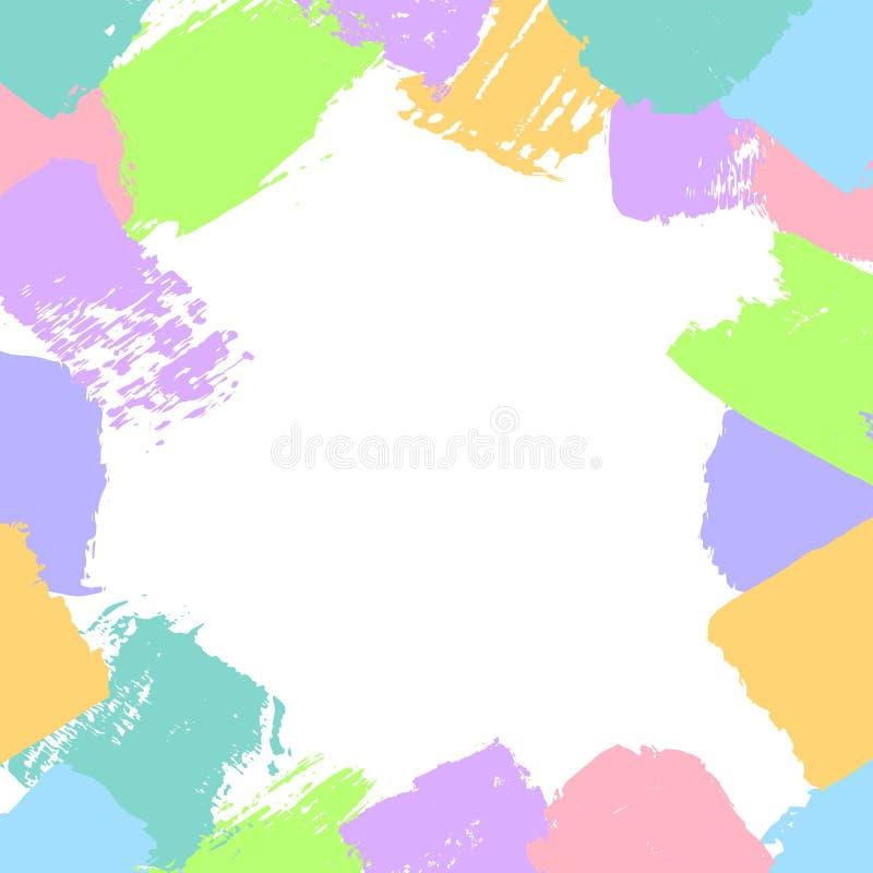 Οι αφηρημένες διαφορετικές μορφές κτυπημάτων βουρτσών στην καραμέλα χρωματίζουν τη σύσταση διασκέδασης πλαισίων συνόρων διανυσματική απεικόνιση