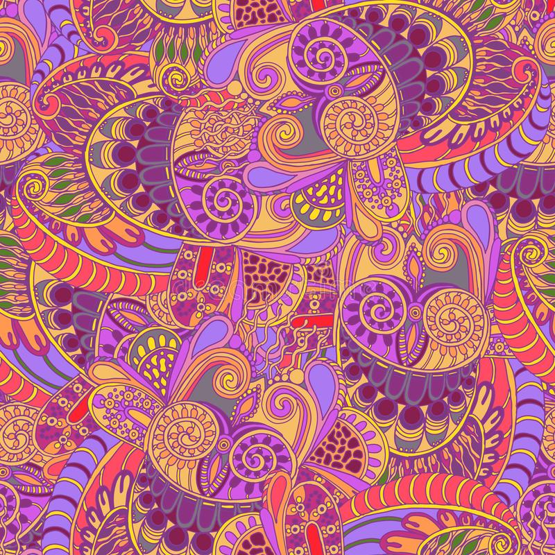 Οι αφηρημένες κουκουβάγιες στροβιλίζονται το εθνικό άνευ ραφής σχέδιο στο ύφος doodle απεικόνιση αποθεμάτων