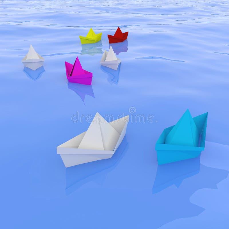 Οι βάρκες εγγράφου, η επιχειρησιακή έννοια της επικοινωνίας και η ηγεσία, τρισδιάστατες δίνουν, τρισδιάστατη απεικόνιση διανυσματική απεικόνιση