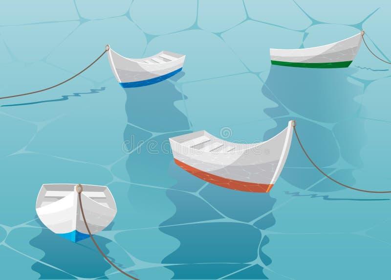 Οι βάρκες τοποθετούνται επάνω κοντά στην αποβάθρα Βάρκα που πλέει στην μπλε θάλασσα διανυσματική απεικόνιση