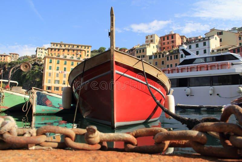 Οι βάρκες των ψαράδων Camogli στοκ εικόνα