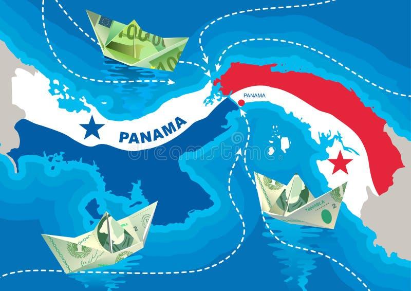 Οι βάρκες PapePaper από τα δολάρια και τα ευρώ επιπλέουν στο κανάλι του Παναμά ελεύθερη απεικόνιση δικαιώματος