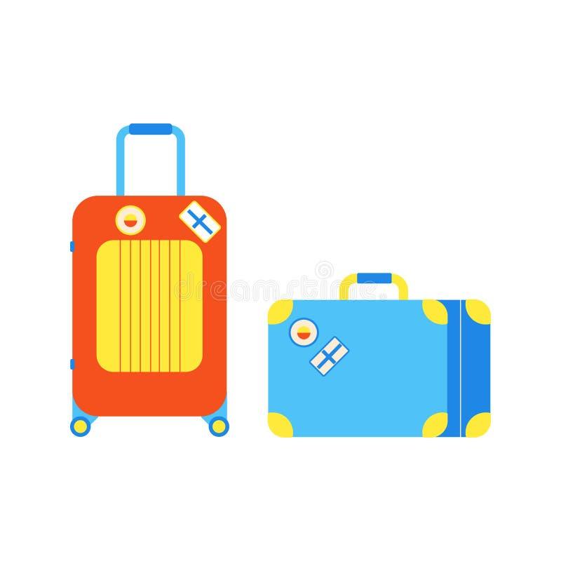 Οι βαλίτσες αποσκευών ταξιδιού για τον αερολιμένα τοποθετούν εικονιδίων σε σάκκο διανυσματική απεικόνιση σχεδίου ύφους σημαδιών τ απεικόνιση αποθεμάτων