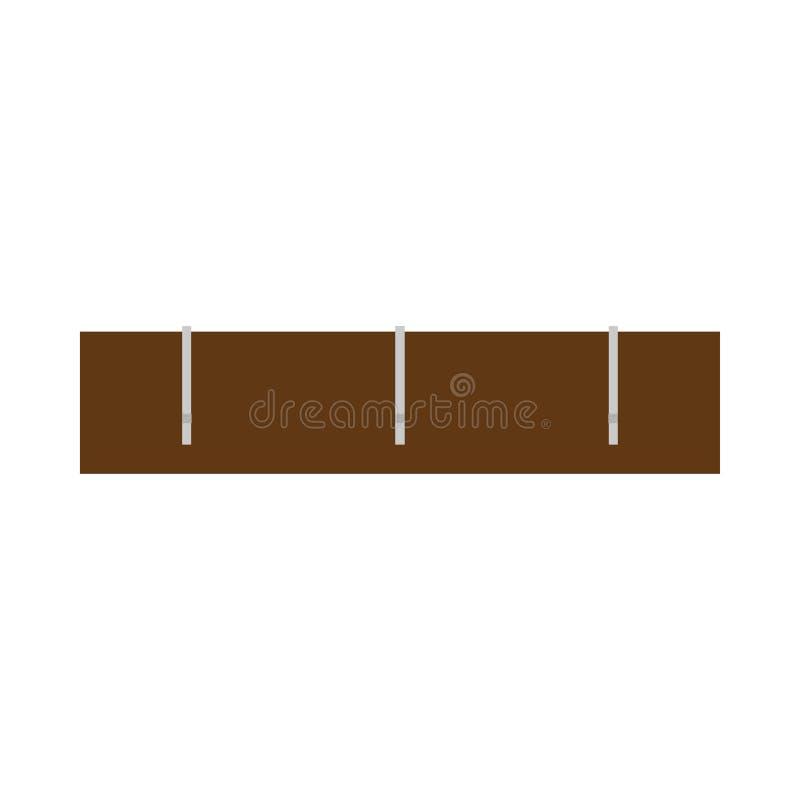 Οι γάντζοι παλτών αντιτίθενται περιστασιακό ξύλινο διανυσματικό εικονίδιο κρεμαστρών οικοκυρικής τοίχων Το ράφι μορφής ντύνει το  ελεύθερη απεικόνιση δικαιώματος
