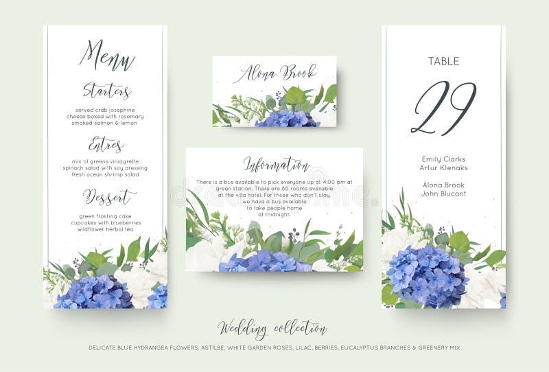 Οι γαμήλιες floral προσωπικές επιλογές, θέση, πληροφορίες, σχέδιο καρτών επιτραπέζιου αριθμού που τίθεται με το κομψό μπλε hydran διανυσματική απεικόνιση