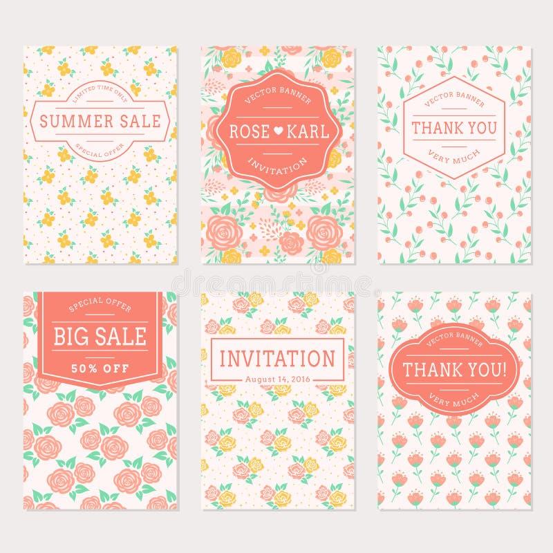 Οι γαμήλιες προσκλήσεις, σας ευχαριστούν κάρτες και ετικέτες πώλησης ελεύθερη απεικόνιση δικαιώματος