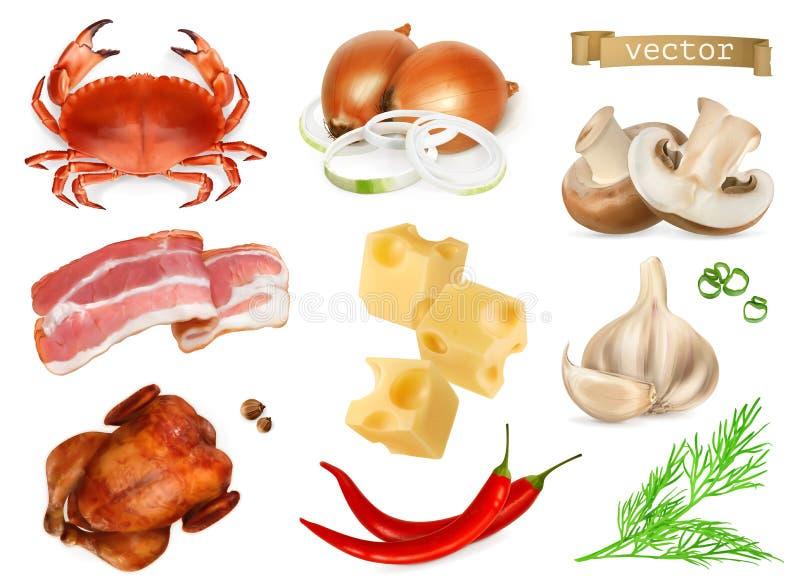 Οι γεύσεις και τα καρυκεύματα τροφίμων για τα πρόχειρα φαγητά, τις φυσικές πρόσθετες ουσίες, το καρύκευμα και άλλο δοκιμάζουν στο διανυσματική απεικόνιση