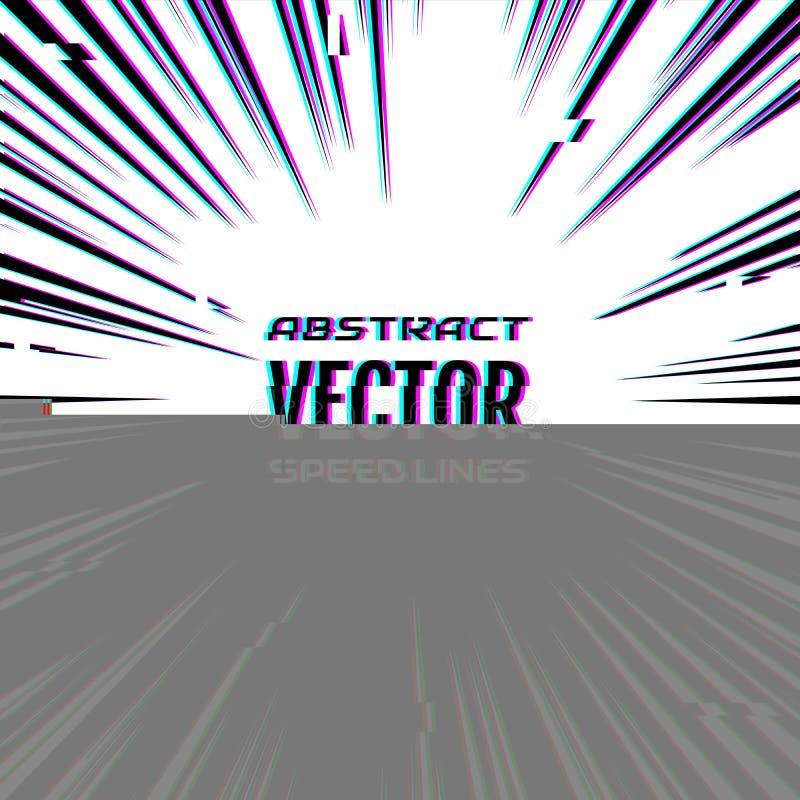 Οι γραμμές ταχύτητας με την επίδραση δυσλειτουργίας, όπως μεταφορτώνουν το λάθος αρχείων Γραμμές κινήσεων επίδρασης για το κόμικς απεικόνιση αποθεμάτων