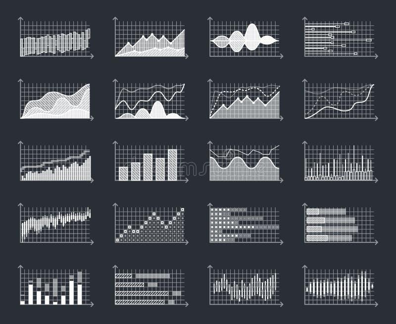 Οι γραφικές παραστάσεις πληροφοριών επιχειρησιακών χρηματοοικονομικών αγορών σχεδιάζουν το infographic διάνυσμα διαγραμμάτων αύξη διανυσματική απεικόνιση