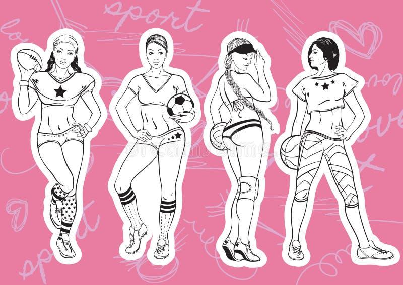 Οι γυναίκες αθλητικού ύφους θέτουν: νέα όμορφα αθλητικά κορίτσια που αντιπροσωπεύουν το διαφορετικό είδος αθλητισμού: ράγκμπι, πο ελεύθερη απεικόνιση δικαιώματος