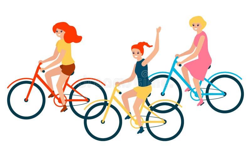 Οι γυναίκες ανθρώπων ομαδοποιούν την οδήγηση στο ποδήλατο r απεικόνιση αποθεμάτων