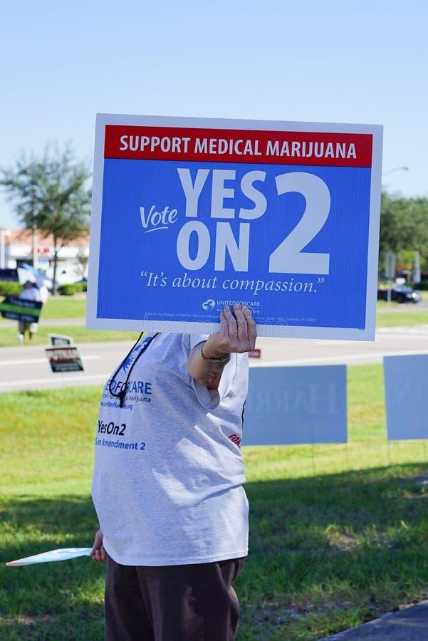 Οι γυναίκες κρατούν ένα μπλε σημάδι ψηφοφορίας εκλογής για να υποστηρίξουν την ιατρική μαριχουάνα στοκ εικόνα με δικαίωμα ελεύθερης χρήσης
