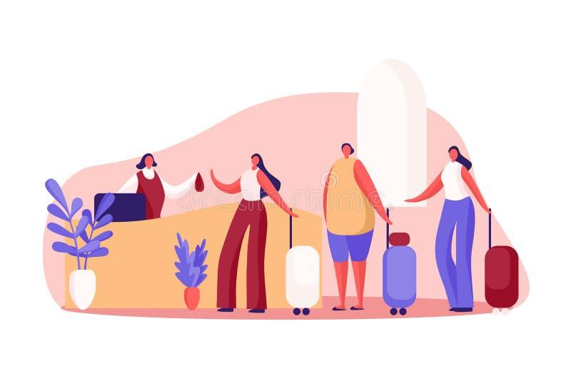 Οι γυναίκες με τις αποσκευές στο guesthouse αντιμετωπίζουν το γραφείο, διοικητής πανδοχείων, ο ρεσεψιονίστ δίνει το κλειδί ενοικι διανυσματική απεικόνιση