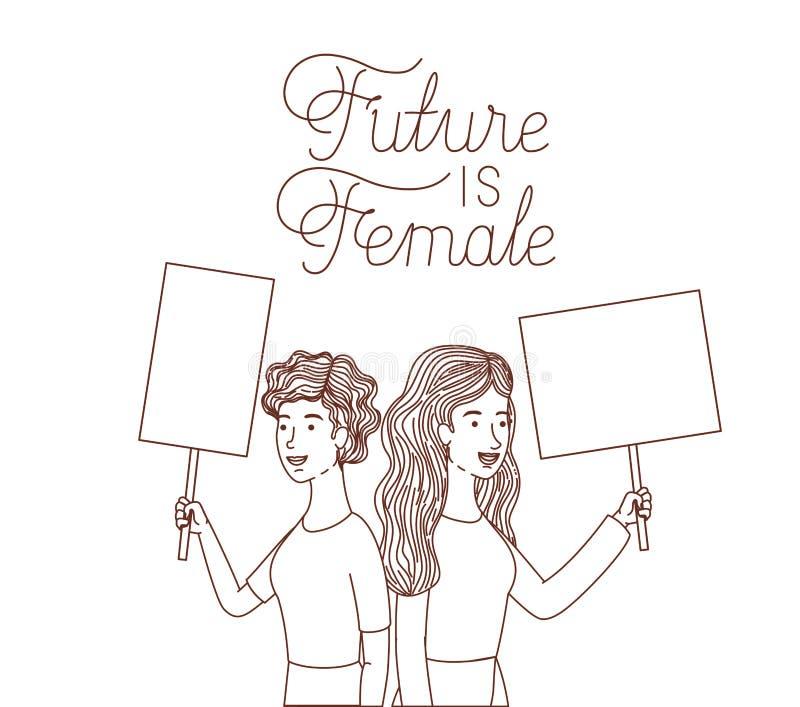Οι γυναίκες με το μέλλον ετικετών είναι θηλυκός χαρακτήρας ειδώλων απεικόνιση αποθεμάτων