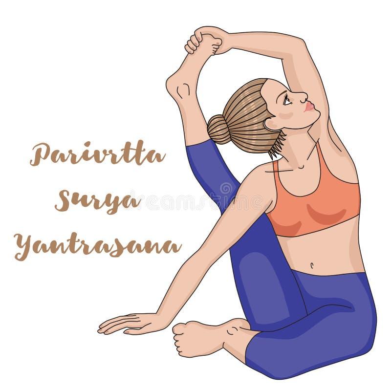 Οι γυναίκες σκιαγραφούν Η γιόγκα πυξίδων θέτει Parivrtta Surya Yantrasana απεικόνιση αποθεμάτων