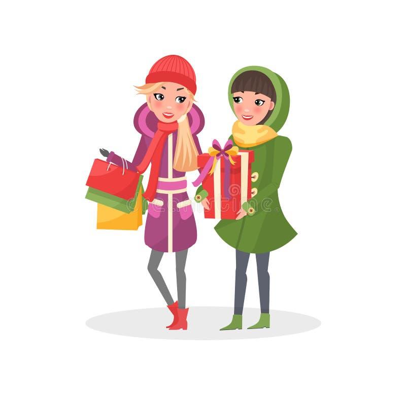 Οι γυναίκες στο θερμό χειμερινό ύφασμα κάνουν να ψωνίσουν από κοινού απεικόνιση αποθεμάτων
