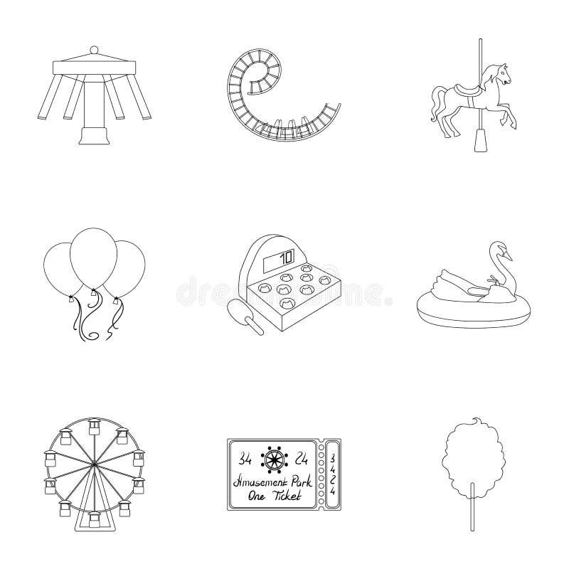 Οι γύροι λούνα παρκ Οι ιδιότητες ενός ψυχαγωγικού πάρκου, δωμάτιο πανικού, καραμέλα βαμβακιού Εικονίδιο λούνα παρκ στο σύνολο διανυσματική απεικόνιση