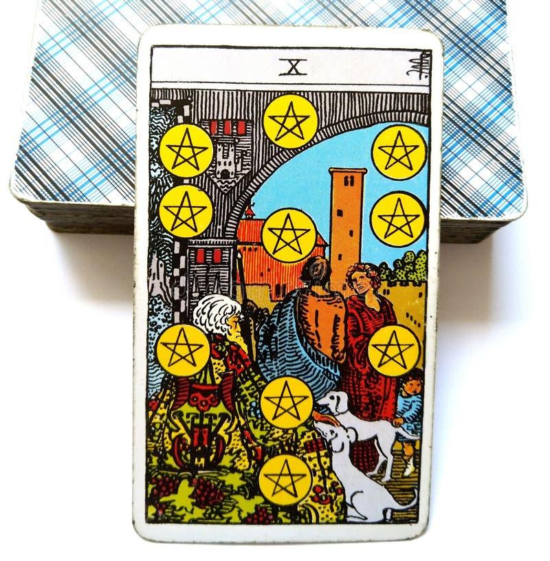 10 οι Δέκα από την οικονομική μονιμότητα επιτυχίας αναπαραγωγής επιτυχίας καρτών Tarot πενταλφών/επιτυχίας σταθερότητας/δύναμης διανυσματική απεικόνιση