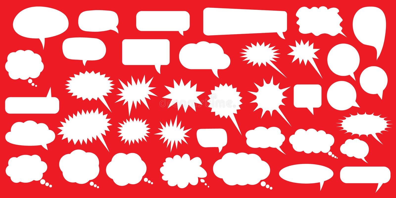 οι διαθέσιμες μορφές φυσαλίδων eps8 jpeg θέτουν την ομιλία Κενές κενές άσπρες λεκτικές φυσαλίδες Σχέδιο λέξης μπαλονιών κινούμενω διανυσματική απεικόνιση