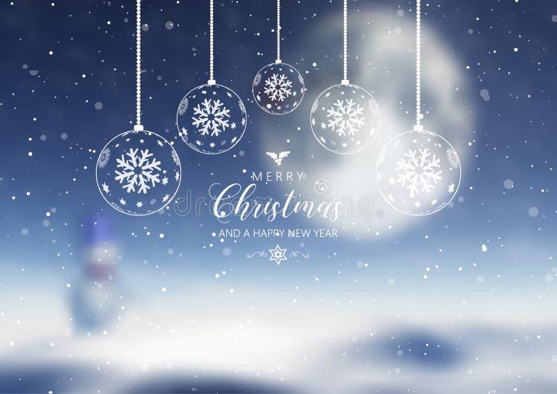 Οι διακοσμήσεις και το κείμενο Χριστουγέννων επάνω το υπόβαθρο διανυσματική απεικόνιση