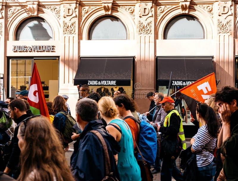 Οι διαμαρτυρίες στη Γαλλία ενάντια σε Macron μεταρρυθμίζουν zadig και voltair στοκ φωτογραφία με δικαίωμα ελεύθερης χρήσης