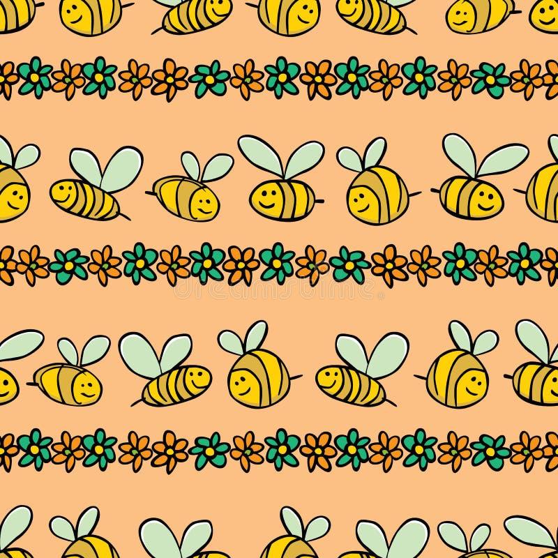 Οι διανυσματικά πορτοκαλιά μέλισσες κρητιδογραφιών και τα λωρίδες λουλουδιών επαναλαμβάνουν το σχέδιο Κατάλληλος για το περικάλυμ διανυσματική απεικόνιση