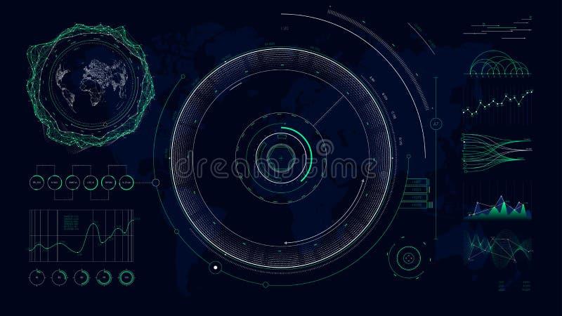 Οι διανυσματικά φουτουριστικά γραφικές παραστάσεις και τα διαγράμματα σχεδίου ενδιάμεσων με τον χρήστη HUD, σφαιρικές επικοινωνίε διανυσματική απεικόνιση