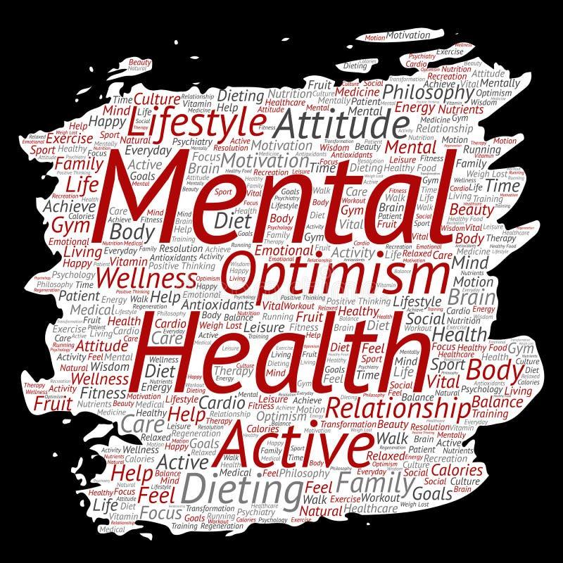Οι διανυσματικές εννοιολογικές πνευματικές υγείες ή το θετικό σύννεφο λέξης εγγράφου βουρτσών χρωμάτων σκέψης απομόνωσαν το υπόβα ελεύθερη απεικόνιση δικαιώματος