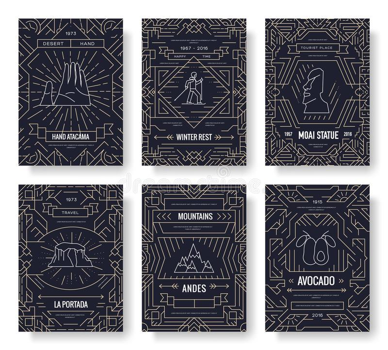 Οι διανυσματικές κάρτες φυλλάδιων της Χιλής λεπταίνουν το σύνολο γραμμών Πρότυπο ταξιδιού χώρας flyear, περιοδικά, αφίσες, κάλυψη διανυσματική απεικόνιση