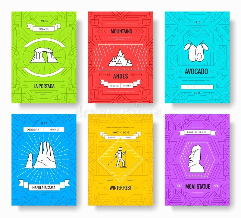 Οι διανυσματικές κάρτες φυλλάδιων της Χιλής λεπταίνουν το σύνολο γραμμών Πρότυπο ταξιδιού χώρας flyear, περιοδικά, αφίσες, κάλυψη ελεύθερη απεικόνιση δικαιώματος