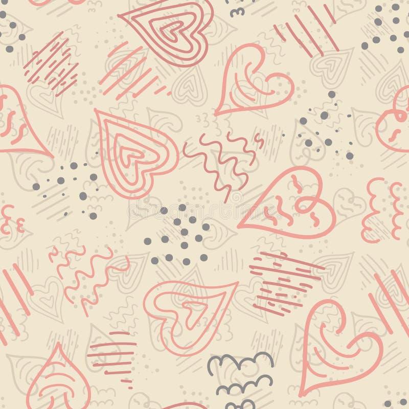 Οι διανυσματικές καρδιές ροζ και κρέμας doodle άνευ ραφής επαναλαμβάνουν το υπόβαθρο σχεδίων Τελειοποιήστε για το ύφασμα, το εγχώ ελεύθερη απεικόνιση δικαιώματος