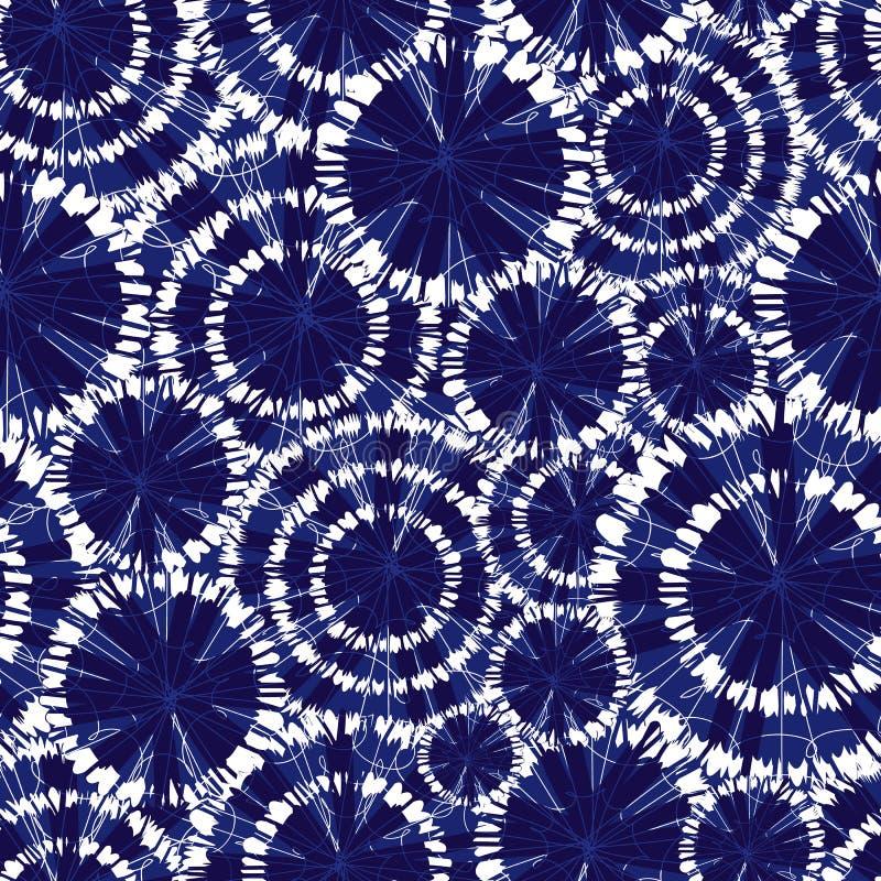 Οι διανυσματικές μπλε ρόδες κύκλων shibori επικαλύπτουν το άνευ ραφής σχέδιο Με τη λεπτομέρεια spiderweb Κατάλληλος για το κλωστο ελεύθερη απεικόνιση δικαιώματος