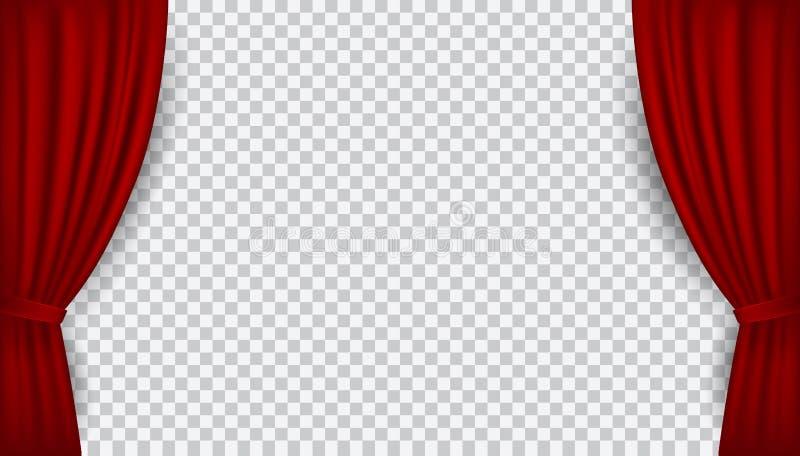 Οι διανυσματικές ρεαλιστικές κόκκινες ανοικτές κουρτίνες βελούδου που απομονώνονται επάνω απεικόνιση αποθεμάτων