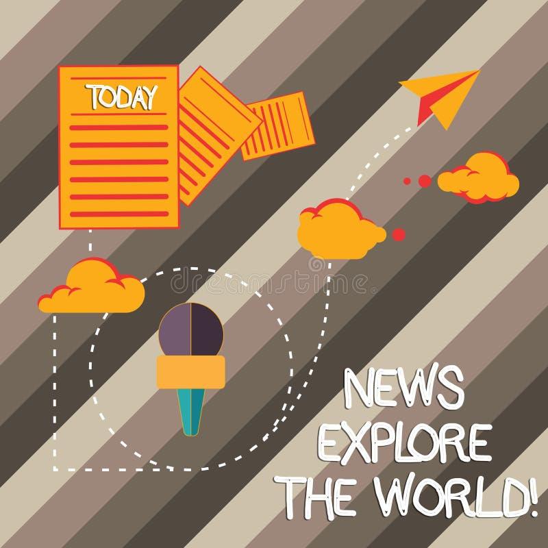 Οι ειδήσεις γραψίματος κειμένων γραφής εξερευνούν τον κόσμο Η έννοια που σημαίνει τις σφαιρικές αναπροσαρμογές μέσων ξέρει τα διε απεικόνιση αποθεμάτων