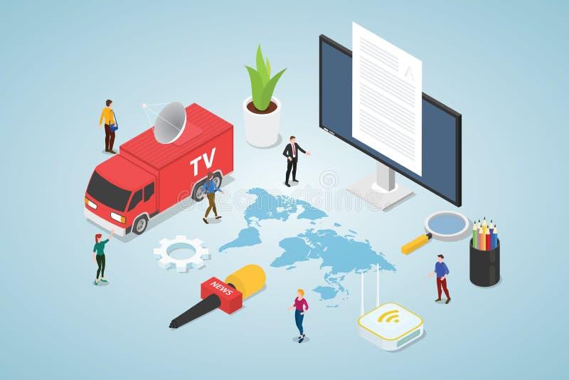 Οι ειδήσεις και πρότυπο έννοιας μέσων με το φορτηγό TV και οι ειδήσεις δένουν mic με το σύγχρονο isometric επίπεδο ύφος - διάνυσμ απεικόνιση αποθεμάτων