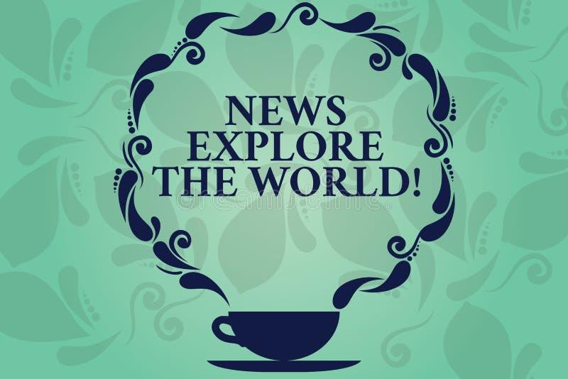 Οι ειδήσεις κειμένων γραψίματος λέξης εξερευνούν τον κόσμο Η επιχειρησιακή έννοια για τις σφαιρικές αναπροσαρμογές μέσων ξέρει το απεικόνιση αποθεμάτων