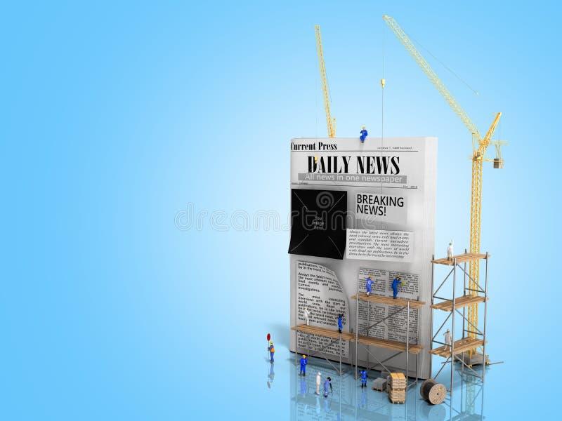Οι ειδήσεις που στηρίζονται τις στήλες εφημερίδων ραβδιών οικοδόμων έννοιας σε ένα κενό φύλλο εφημερίδων τρισδιάστατο δίνουν στο  διανυσματική απεικόνιση