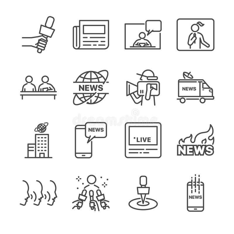 Οι ειδήσεις αφορούσαν το διανυσματικό σύνολο εικονιδίων γραμμών Περιέχει τέτοια εικονίδια όπως οι ειδήσεις, εφημερίδα, δημοσιογρά απεικόνιση αποθεμάτων